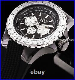 Invicta Men AVIATOR VOYAGE Multi Function Black Silver Dial SS Nautical Watch