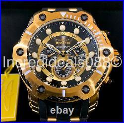 Invicta Men BOLT CHRONOGRAPH 18Kt Gold Black Dial PU Strap 52mm Nautical Watch