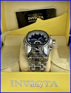 Invicta Men BOLT ZEUS MAGNUM Chronograph Blue Dial Silver GMT High Polish Watch