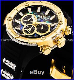 Invicta Men Bolt Chronograph Abalone DiaI Gold Tone Bezel Black Strap 52mm Watch