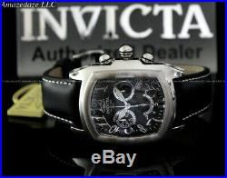 Invicta Men Dragon Lupah Swiss Chronograph Stainless Steel Leather Strap Watch