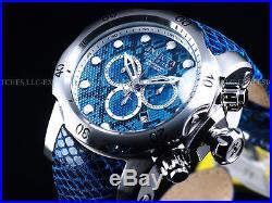 Invicta Men Electric Blue Snake Venom Swiss Made Chrono Leather SS Watch