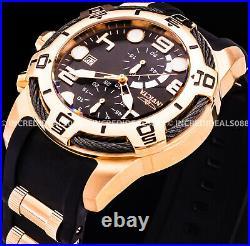 Invicta Men NAUTICAL BOLT CHRONOGRAPH Rose Gold Tone Black Strap CABLE SS Watch
