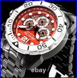 Invicta Men PRO DIVER CHRONOGRAPH Red Dial Silver Bezel Black Bracelet SS Watch