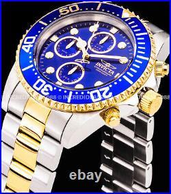 Invicta Men PRO DIVER Chronograph Blue Dial Bezel Silver 18K Gold Bracelet Watch