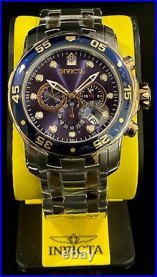 Invicta Men PRO DIVER SCUBA Chronograph Blue Dial 18K Gold Silver SS Watch 0077