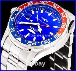 Invicta Men PRO DIVER SWISS MADE Quartz GMT Blue Dial Silver Bracelet 44mm Watch