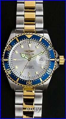 Invicta Men PRO DIVER Silver Dial Blue Bezel Silver 18K Gold Bracelet 43mm Watch