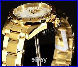 Invicta Men Pro Diver 38mm 18K Gold IP White Dial Stainless Steel Bracelet Watch