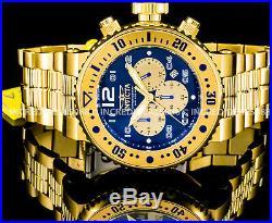 Invicta Men Pro Diver Combat Seal Chronograph Blue Dial 18K Gold 52mm Watch