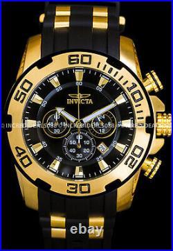 Invicta Men Pro Diver SCUBA Chronograph 18Kt Gold Bezel Black 50mm SS Watch