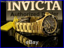 Invicta Men Pro Diver SUBMARINER Black Dial 18K Gold Plated Stainless St Watch