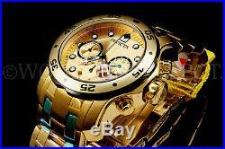 Invicta Men Pro Diver Scuba 18K Gold Plated Swiss Chrono S. S Bracelet Watch NEW