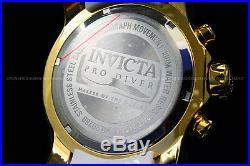 Invicta Men Pro Diver Scuba 48mm 18K Gold Plated Chrono Black Dial S. S Watch NEW