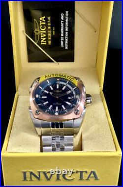 Invicta Men RESERVE AUTOMATIC Blue Dial ROSE GOLD Bezel SILVER Bracelet Watch