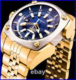 Invicta Men RESERVE AUTOMATIC Silver Bezel Blue Dial 18Kt Polish Gold 48mm Watch