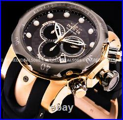 Invicta Men RESERVE VENOM SWISS Chronograph Rose Gold Black Dial Strap Watch