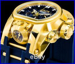 Invicta Men Reserve Bolt Zeus Magnum Dual Time Swiss Chrono 18k Gold Blue Watch