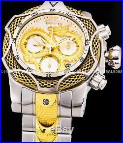 Invicta Men Reserve Venom Dragon 18k Gold Silver Two Tone Chronograph Watch