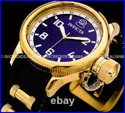 Invicta Men Russian Diver Swiss Chronograph 18Kt Gold Black Blue Dial 52mm Watch