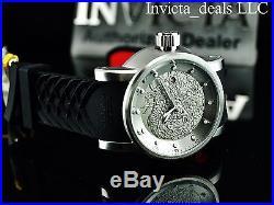 Invicta Men S1 Yakuza Dragon Automatic NH35A Silver Tone SS Silicone Strap Watch