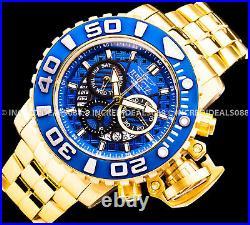 Invicta Men SEA HUNTER SWISS CHRONOGRAPH Blue Dial 18K Gold Bracelet 58mm Watch