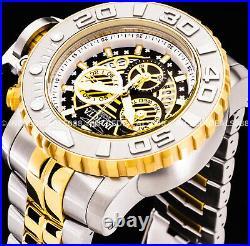 Invicta Men SEA HUNTER SWISS CHRONOGRAPH Silver 18K Gold Black Dial 58mm Watch