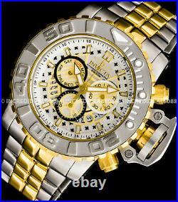 Invicta Men SEA HUNTER SWISS Chronograph Silver Gold Dial Bracelet 58mm Watch