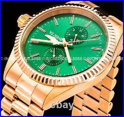 Invicta Men Specialty JUBILEE GREEN Dial ROSE GOLD Bracelet 43mm SS Watch