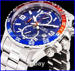Invicta Men Specialty Pilot Chronograph Blue Red Dial Silver Bracelet Tach Watch
