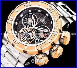 Invicta Men Subaqua Sea Dragon Swiss Chronograph Rose Gold Bezel Silver Watch