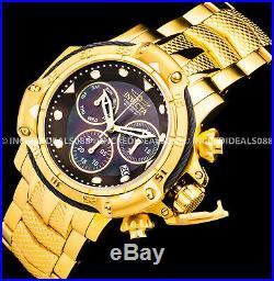 Invicta Men Subaqua Swiss Chronograph MOP Black Dial 18Kt Gold Watch 1 Slot Box