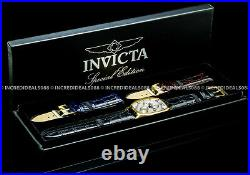 Invicta Men TONNEAU SPECIALTY 18K GOLD White Dial 3 Piece Leather Strap SS Watch