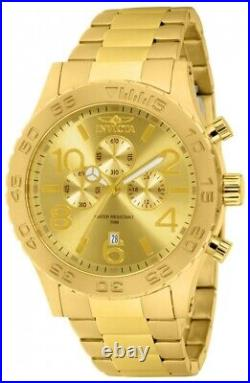 Invicta Men's 1270 Specialty Chronograph Gold Dial 18k Gold Ion-Plated SS Watch