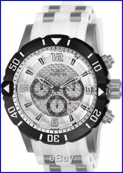 Invicta Men's 23697 Pro Diver Chronograph 50mm Silver Dial White Rubber Watch