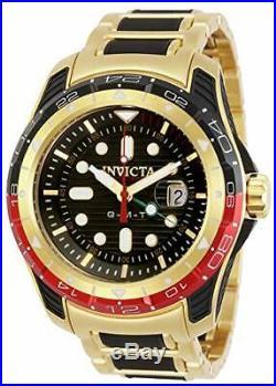 Invicta Men's 29582 Gold & Black Hydromax Quartz 3 Hand Black Dial GMT Watch
