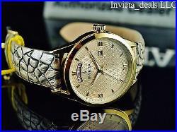 Invicta Men's 40mm Vintage Swiss Parts Quartz Champagne Dial Leather Strap Watch