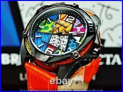Invicta Men's 43mm Limited Ed Romero Britto Tri-Colored Glass Fiber Orange Watch
