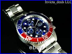 Invicta Men's 43mm PRO DIVER Chronograph Blue Dial Red & Blue Bezel Silver Watch