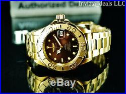 Invicta Men's 43mm Pro Diver AUTOMATIC NH35A BROWN Dial 18K Gold Plated SS Watch