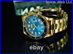 Invicta Men's 43mm Pro Diver HAMMERHEAD Blue Dial 18K Gold Plated SS 100M Watch