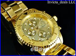 Invicta Men's 44mm Pro Diver Chronograph 18K Gold Plated Champagne Dial SS Watch