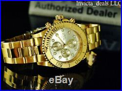 Invicta Men's 44mm Pro Diver Chronograph Champagne Dial 18K Gold Plated SS Watch