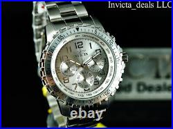 Invicta Men's 45mm PILOT Specialty Chronograph SILVER DIAL ALL Silver Tone Watch