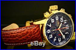 Invicta Men's 46MM I FORCE LEFTY Chrono 18 K Gold Plated Blue Dial Leather Watch