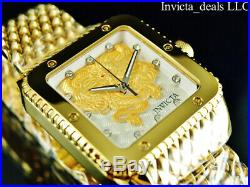 Invicta Men's 46mm Cuadro DRAGON Automatic Gold/Silver Dial 18K GP Mesh SS Watch