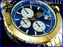 Invicta Men's 47mm Aviator Maverick Chronograph Blue Dial Two Tone GP SS Watch
