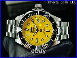 Invicta Men's 47mm GRAND DIVER Automatic YELLOW DIAL Silver Tone SS 300M Watch