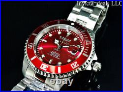 Invicta Men's 47mm PRO DIVER AUTOMATIC 24J Red Dial Coin Edge Bezel Silver Watch
