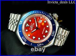 Invicta Men's 47mm Pro Diver SEA WOLF AUTOMATIC Orange Dial Blue Bezel SS Watch